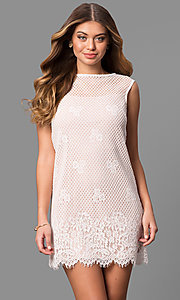 Junior-Size Short Lace Shift Party Dress