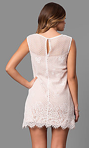 Image of junior-size short lace shift party dress. Style: JU-49981 Back Image