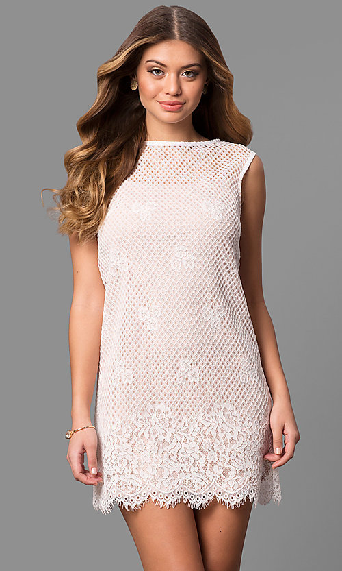 Image of junior-size short lace shift party dress. Style: JU-49981 Front Image