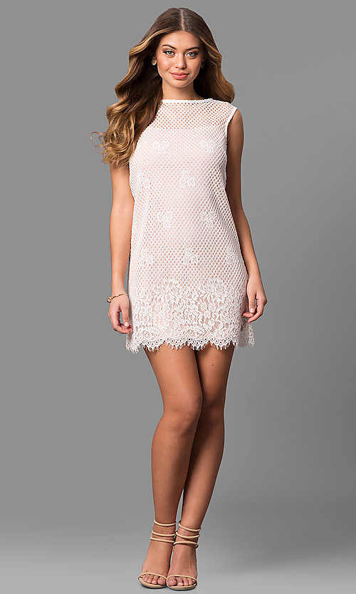 Image of junior-size short lace shift party dress. Style: JU-49981 Detail Image 1