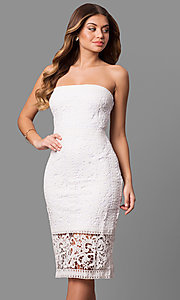 Strapless Rehearsal-Dinner Midi Lace Party Dress