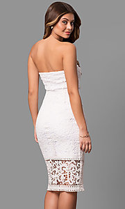 Image of strapless rehearsal-dinner midi lace party dress. Style: JU-10039i Back Image