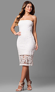Image of strapless rehearsal-dinner midi lace party dress. Style: JU-10039i Detail Image 1
