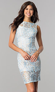 Image of short blue lace party dress with taupe lining. Style: JU-10044 Front Image
