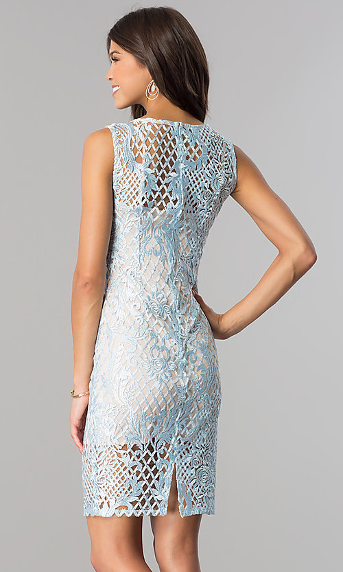 Image of short blue lace party dress with taupe lining. Style: JU-10044 Back Image