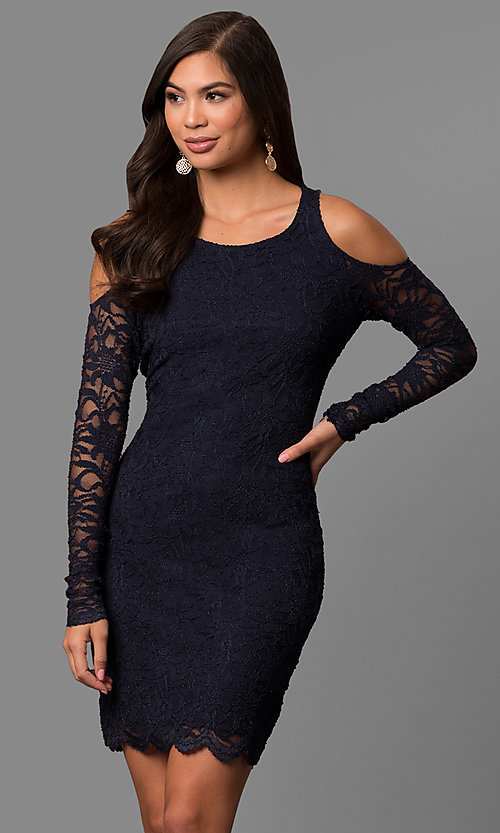 Image of cold-shoulder short lace party dress with sleeves. Style: JU-49963 Front Image
