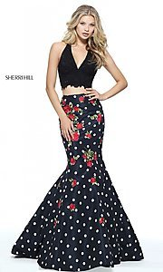 Polka Dot Two-Piece Long Prom Dress
