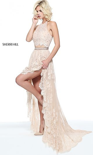 Lace High-Low Halter Prom Dress