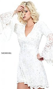Long-Sleeve Short Lace Prom Dress