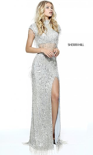 Silver Evening Gowns, Silver Sequin Dresses