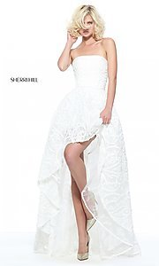 Ivory High-Low Lace Prom Dress