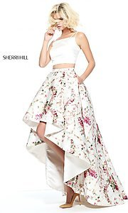 Ivory and Print Two-Piece Prom Dress