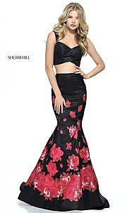 Two-Piece Black Sherri Hill Prom Dress with Red Print