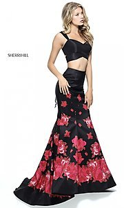 Image of two-piece black Sherri Hill prom dress with red print. Style: SH-51203 Detail Image 2