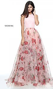 High-Neck Halter Print Prom Dress