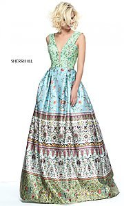 V-Neck Print Prom Dress by Sherri Hill