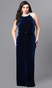 Long Plus Size Velvet Winter Formal Dress