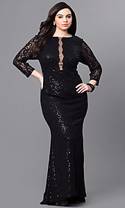 3/4 Sleeve Lace Plus Size Long Prom Dress