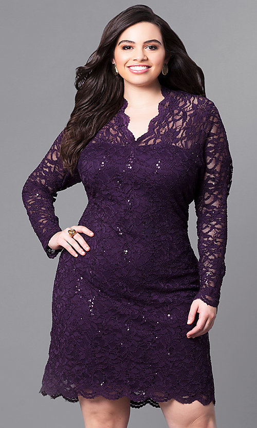Short Long-Sleeve Plus-Size Lace Party Dress -PromGirl