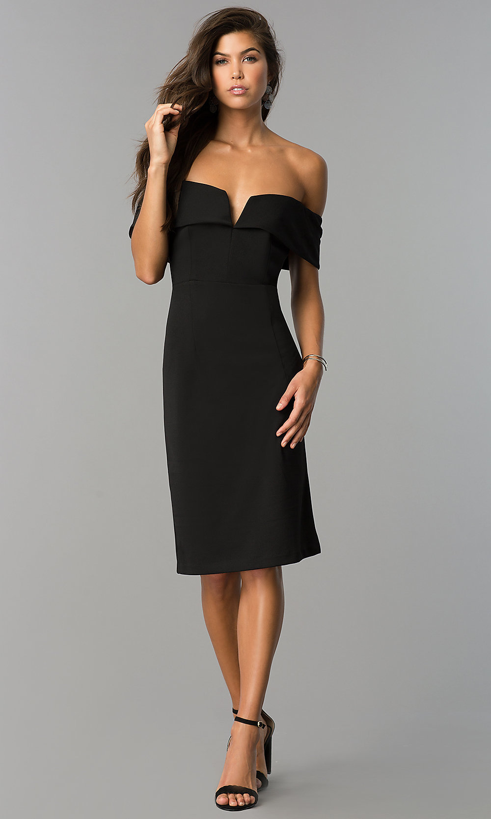 Image of semi-formal strapless midi party dress with slit. Style  SD-. Tap  to expand 9b87b0e7e