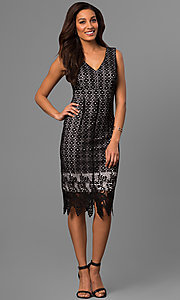 Image of v-neck lace party dress with knee-length zigzag hem. Style: SD-S277521 Detail Image 1