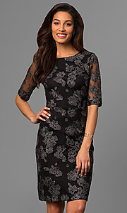 Embroidered 1/2 Sleeve Knee Length Party Dress