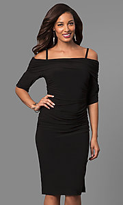 Short Black Party Dress with Cold Shoulders