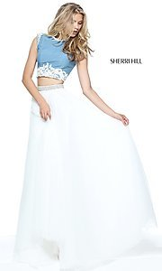 Blue and Ivory Two-Piece Prom Dress