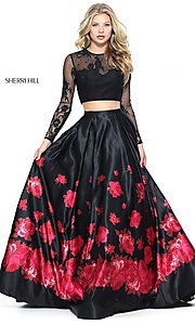 Black and Red Long Two-Piece Dress