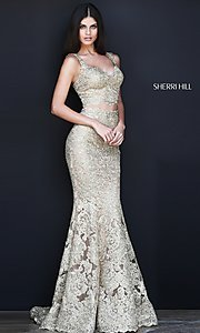Gold Two-Piece Embroidered Prom Dress