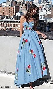 Blue Prom Dress with Red Floral Embroidery