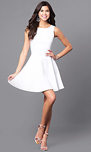 Image of sleeveless short white party dress with back cut outs. Style: CH-2420-W Detail Image 1