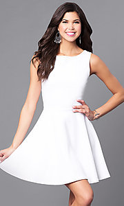 Sleeveless Short White Party Dress with Back Cut Outs