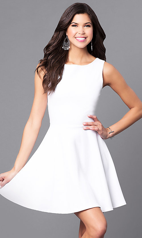 Image of sleeveless short white party dress with back cut outs. Style: CH-2420-W Back Image