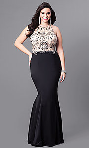 Image of plus-size long mermaid prom dress with sheer bodice. Style: DQ-9706P Front Image