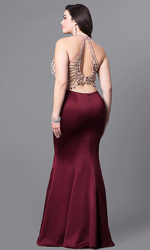 Image of plus-size long mermaid prom dress with sheer bodice. Style: DQ-9706P Back Image