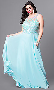 Image of plus-size prom dress with beaded illusion bodice. Style: DQ-9474P Front Image