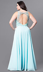Image of plus-size prom dress with beaded illusion bodice. Style: DQ-9474P Back Image