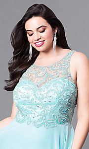 Image of plus-size prom dress with beaded illusion bodice. Style: DQ-9474P Detail Image 1