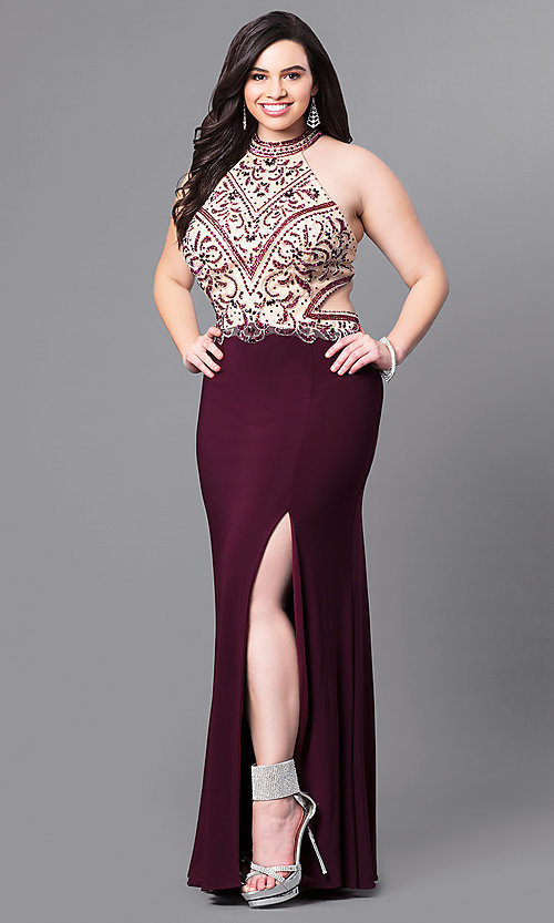 Image of long eggplant plus-size prom dress with beaded bodice.  Style: FB-GL2282P Front Image