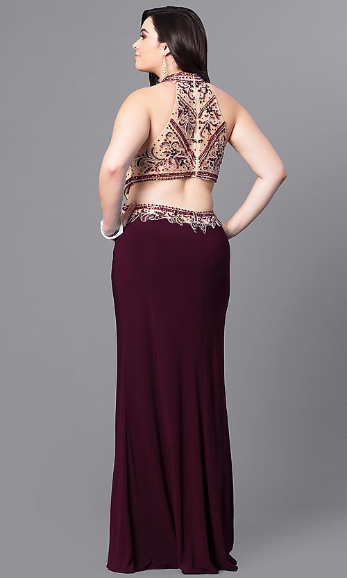 Image of long eggplant plus-size prom dress with beaded bodice.  Style: FB-GL2282P Back Image