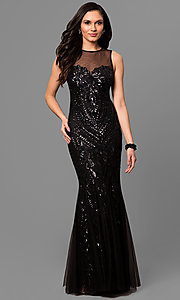 Illusion Sweetheart Sequin Embellished Prom Dress