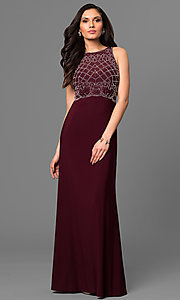 Merlot Red Long Formal Dress with Beading