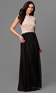 Long Beaded Bodice and Pleated Skirt Formal Dress