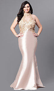 Plus Size Long Prom Dress with High Neckline