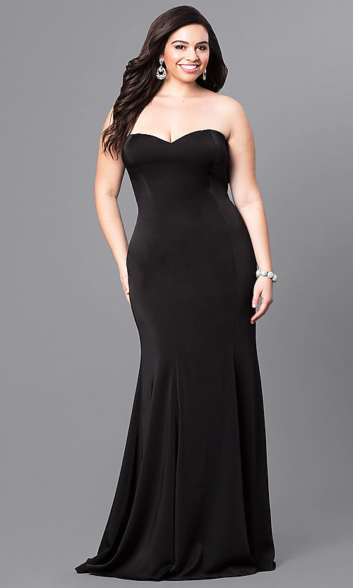 Image of long plus-size prom dress with sweetheart neckline. Style: DQ-9607P Front Image