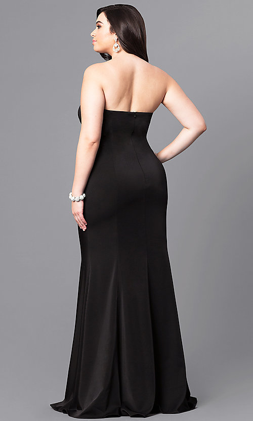 Image of long plus-size prom dress with sweetheart neckline. Style: DQ-9607P Back Image