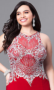 Image of long plus-size prom dress with beaded illusion bodice. Style: FB-GL2232P Detail Image 1