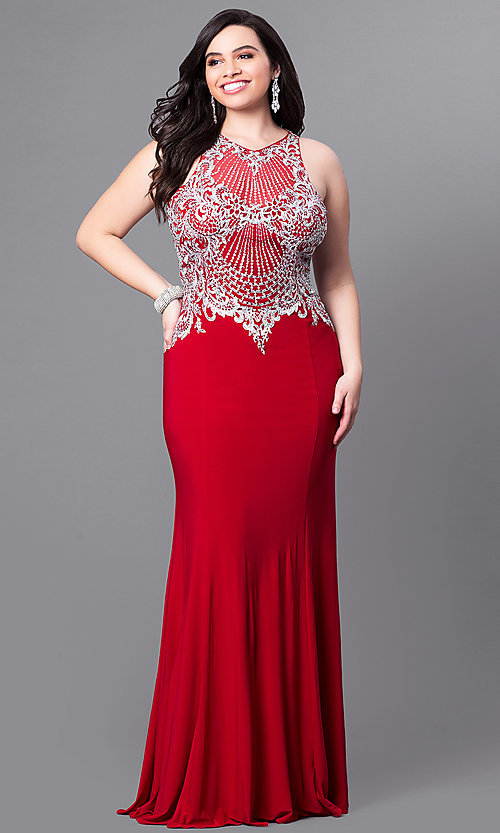 Image of long plus-size prom dress with beaded illusion bodice. Style: FB-GL2232P Front Image
