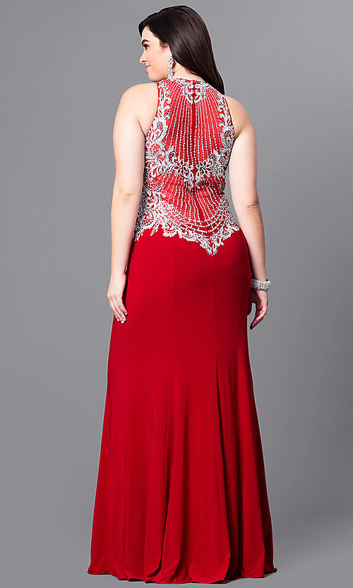 Image of long plus-size prom dress with beaded illusion bodice. Style: FB-GL2232P Back Image